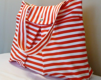 Shoulder Bag ,Everyday Purse,White and Red Canvas