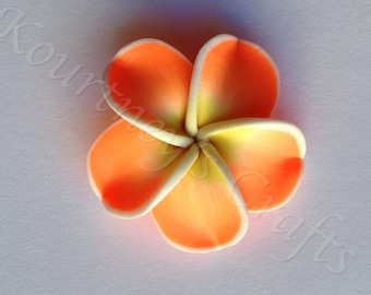 Handmade Polymer Clay Flower set of 10, size 34mm, thickness 11mm, hole 1mm