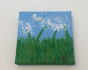 Dandelion Meadow Painting- acrylic painting, mini painting, flower painting, painted flowers , dandelion painting, spring painting, flowers