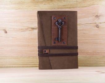 Medieval Leather Journal, Key Journal, Vintage Key, Vintage Journal, Log Book