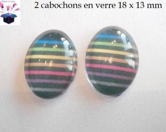2 cabochons glass 18mm x 13mm theme stripe