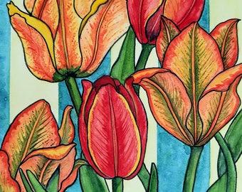 Greeting Card, Five Tulips watercolor