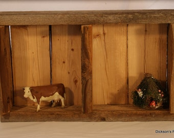 "Reclaimed barn wood shelf, 18"" H x 11"" L x 4"" D"