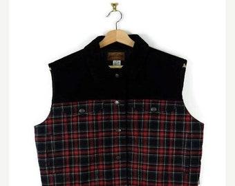 ON SALE Pendleton Black x Red tartan plaid Corduroy Vest