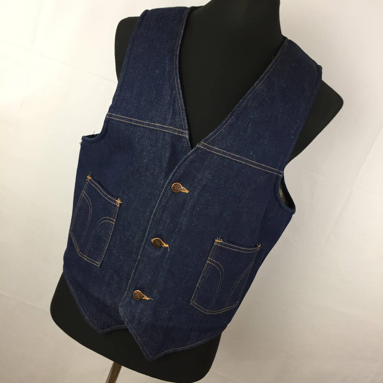 Vintage Denim Vest ~ Sherpa Lined ~ 1950's era Mens Size / Vintage Large ~ Western / Cowboy ~ Ranch Wear ~ Roebuck Jean Vest DAJPgtiiCh