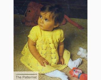 Vintage Crochet Pattern for Baby Dress - Baby Dress Crochet Pattern PDF - Download SKU 95-5