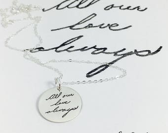 Engraved Handwriting, Handwriting Jewelry, Handwriting Pendant, Handwriting Necklace, Engrave Your Handwriting, Engraving