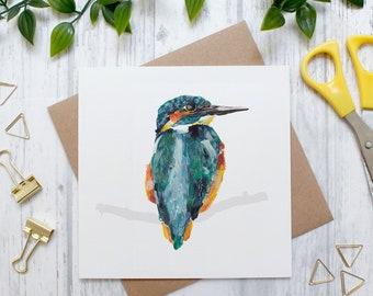 Kingfisher Bird Illustration Card, British Wildlife, British Countryside, Blank Greeting Card