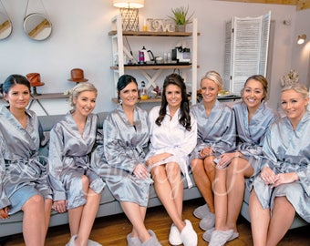 BRIDESMAID ROBES - Gray Satin Robes - Personalized Robes - Monogrammed Robes - Getting Ready Robes - Dressing Gown - Bridal Party Robes