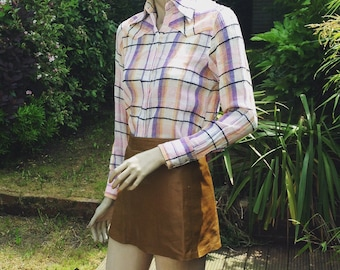 ORIGINAL 60s 70s western cowgirl checked cheesecloth blouse shirt XS S uk 8 10 *details tbc*