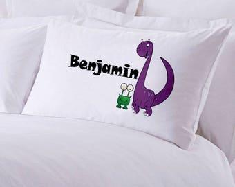 "Monogrammed Purple Dinosaur and Frog Pillowcase 30"" x 20"""