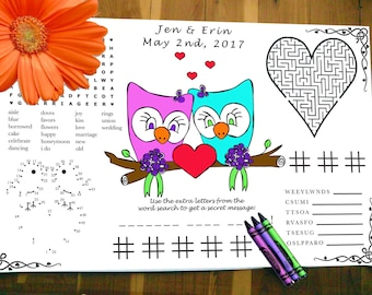 Owl Printable Kids Wedding Activity Page PDF. Customized Favor, Placemat. Your Names and Date. You Choose Wedding Couple's Genders.