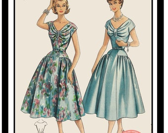 1950s Summer Dress - PDF Sewing Pattern  - Instant Download
