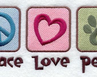 Peace Love Pets Embroidered Flour Sack Hand/Dish Towel