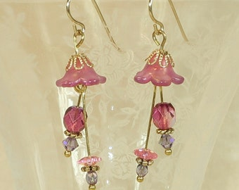 Lavender Tulips and Fuchsia Earrings- J-17