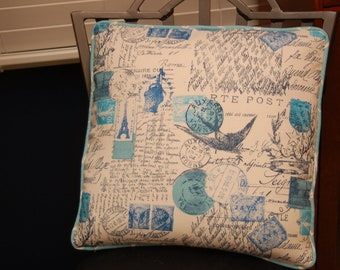 Blue Decorative Throw Pillow Cover  16 X 16 Premier Prints, Accent Sofa Pillow, Corded Pillow Cover with Invisible Zipper Closure