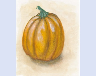Pumpkin, Halloween, Thanksgiving, Original watercolor painting, 6 x 9 inches, NOT FRAMED
