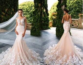 Dua wedding dress. Custom fabrics available.