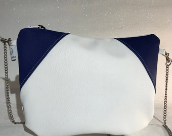 MINNDY white faux leather and faux blue leather bag