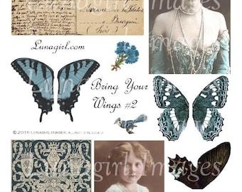 BLUE WINGS digital collage sheet, Vintage Images, butterflies women roses, Antique postcards photos, printable altered art Ephemera DOWNLOAD
