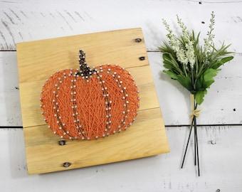 Pumpkin Fall String Art Wood Sign-Halloween Thanksgiving Home Decor-Custom Rustic Fall Pumpkin-Autumn Decor-String and Nail-READY TO SHIP