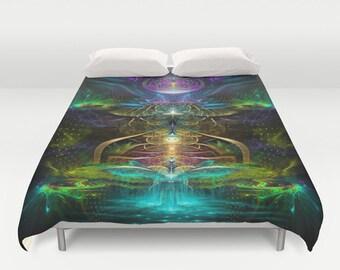 Psychedelic Duvet Cover, Duvet Cover, Festival Bedding, Rainbow Bedding, Bedding, Festival blanket, Blankets, 3 Sizes, Fractal art bedding