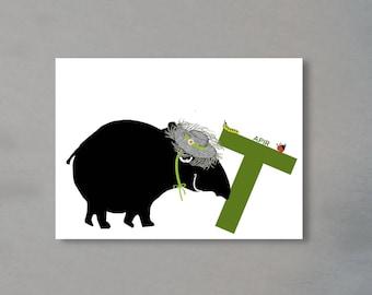 Letter card - 'T' as in Tapir