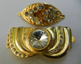 sold out Clasp box Jewelry Vintage, Closures for Clothing,Original 1970-rhinestones gold-Lovely and elegant crystals on golden base-2pieces