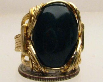 14kt Gold Filled Handmade Wire Wrapped Black Onyx Cabochon Ring Oval Shape Genuine Gemstone