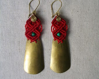 Earrings ethnic inca Princess red and gold