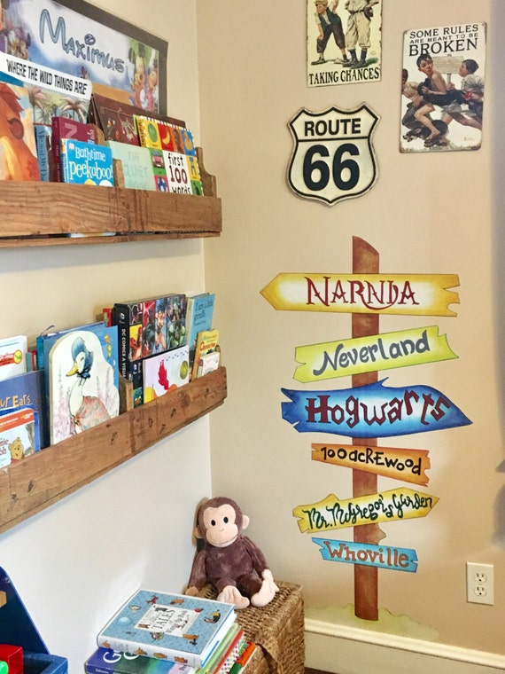 Signpost Wall Decal. Childrens Books Signpost. Wall Art