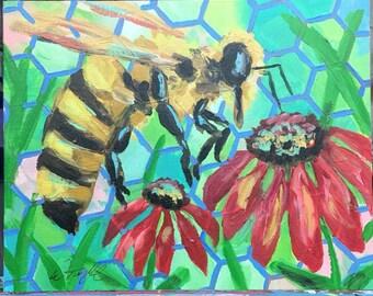 Honeybee PRINT of original painting Beekeeping painting Pollinator painting honeybee painting beekeeping painting