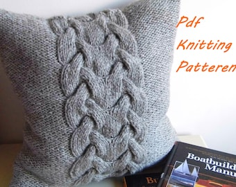 PDF Knitting Pattern, Cable knit pillow cover BACKBONE, 16 x 16, button
