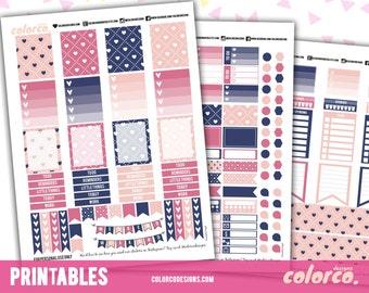 HEARTS Printable Planner Stickers Kit Set   Erin Condren, ECLP   Happy Planner   Instant Digital Download