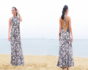 Black White printed Halter open back long maxi dress sun evening All size