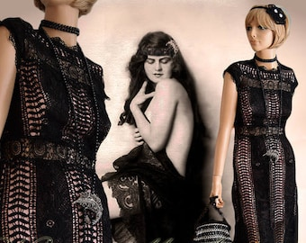 Art DecoMaxi Vintage Crochet Evening Gown Avant Garde Black Maxi Stage Hollywood Goddess Gothic Steampunk Dress Size UK 6 8 US 2 4SMALL
