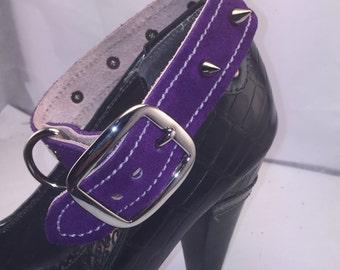 Purple Suede Spiked BDSM Collar
