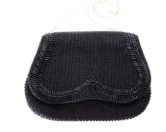 Black Beaded Purse Vintage Beaded Hand Bag Black Wedding Evening Clutch Gold Chain Evening Bag C40