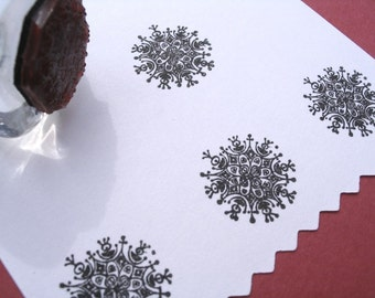 Modern Snowflake Rubber Stamp - Handmade by BlossomStamps