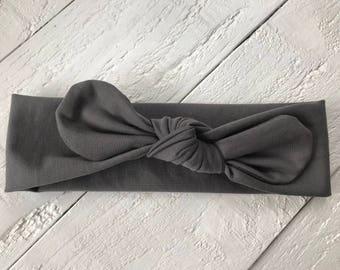 Dark Grey Baby Headband, Knotted baby headbands