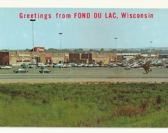 1970s Chrome Postcard- View of Forest Mall Shopping Center, Fond Du Lac, Fond du Lac County, Wisconsin, WI. ~ Free Shipping