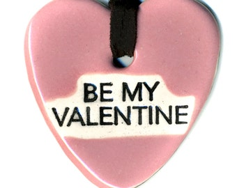 Be My Valentine Ceramic Necklace in Pink
