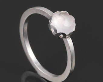 Crystal Quartz Stacking Ring. Sterling Silver. April Birthstone. Genuine Gemstone. Ready to Ship. Size 5.5. s17r004