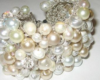 Modern Bride, Freshwater, Pearls, Crystals, White,Ivory Big Statement Bracelet Cuff, Baroque, Silver Glitter Beads, Hand Knit Sereba Designs