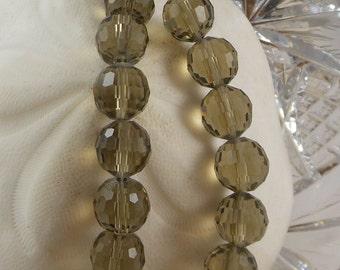 Crystal Beads 12mm Faceted Round Disco Balls MediumSmoky Quartz (Qty 6) PH-DB12-MSQ