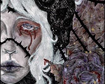 SALE!!! Die Tränen der Rose -- The Tears of Rose -- Gothic Original Watercolors Art