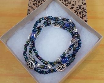 Iridescent Blues Beaded Bracelet