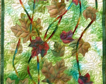Art quilt with hand painted/dyed fabric, wall hanging, textile art - Falling Leaves