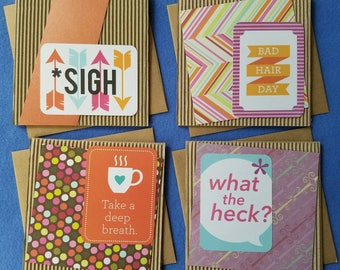 Handmade Square Cardboard Card - sigh, bad hair day, take a deep breath, or what the heck? - funny card, humorous card