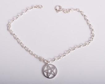 Pentagram ankle bracelet sterling silver 925 wicca pagan charm chain ankle bracelet anklet